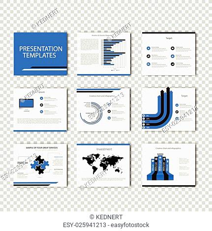 Multipurpose template for presentation slides with graphs and charts - blue color version. Perfect for your business report or personal use