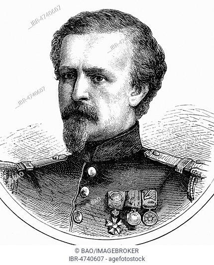 Portrait of Pierre Philippe Marie Aristide Denfert-Rochereau, 11 January 1823, 11 May 1878, woodcut, France
