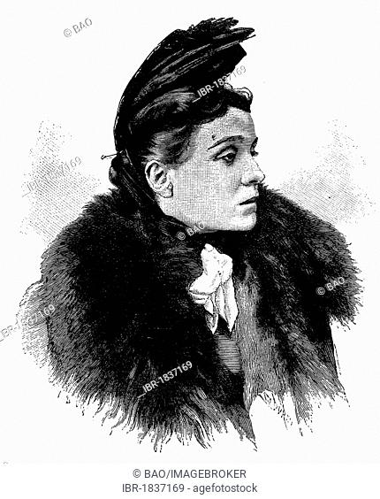 Eleonora Duse, 1858 - 1924, Italian actress, historical illustration circa 1893