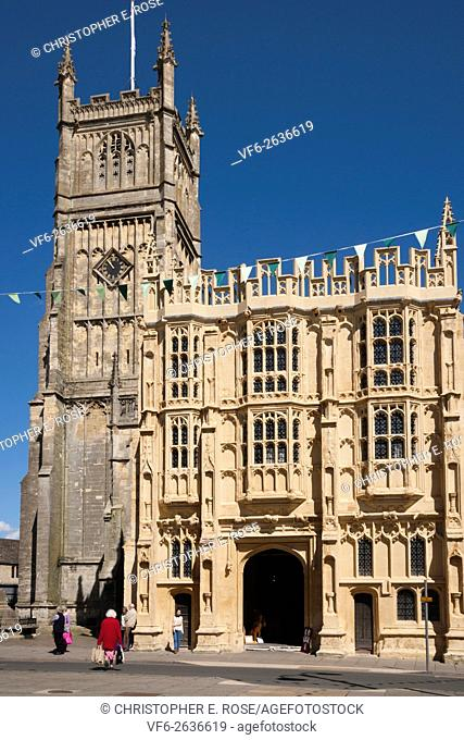 Tower and restored porch of the abbey church, Cirencester, Gloucestershire, Cotswolds, UK