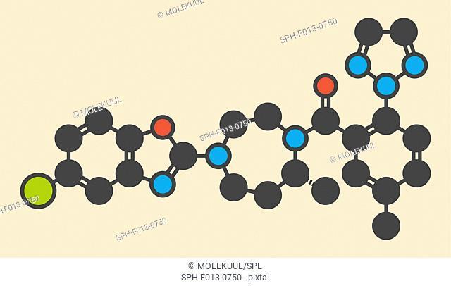 Suvorexant insomnia drug (sleeping pill) molecule. Dual orexin receptor antagonist (DORA) Stylized skeletal formula (chemical structure)