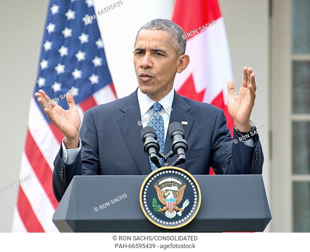 United States President Barack Obama holds a joint press conference with Prime Minister Justin Trudeau of Canada in the Rose Garden of the White House in...
