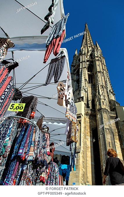 FABRIC AND CLOTHING MARKET, PLACE SAINT-MICHEL, CITY OF BORDEAUX, GIRONDE (33), FRANCE