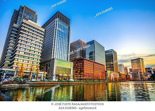 Japan,Tokyo City, Marunouchi District Skyline