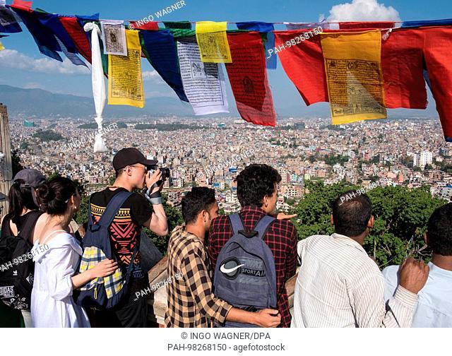 View from the Stupa of Swayambhunath over the Nepali capital Kathmandu.   usage worldwide. - Kathmandu/Nepal