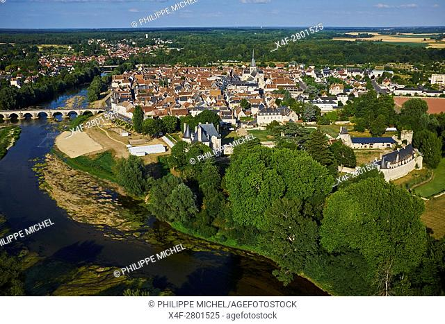 France, Loir-et-Cher, the town and the castle of Selles-sur-Cher, Le Cher river aerial view
