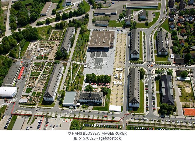 Aerial view, Landesgartenschau Country Garden Exhibition Hemer, Maerkischer Kreis district, Sauerland region, North Rhine-Westphalia, Germany, Europe