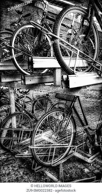 Double decker bike parking, Stockholm, Sweden, Scandinavia