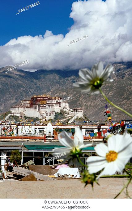 Lhasa, Tibet, China - The view of Potala Palace in the daytime looking from distance