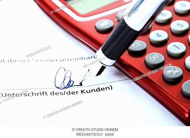 Signing a special agreement, close-up