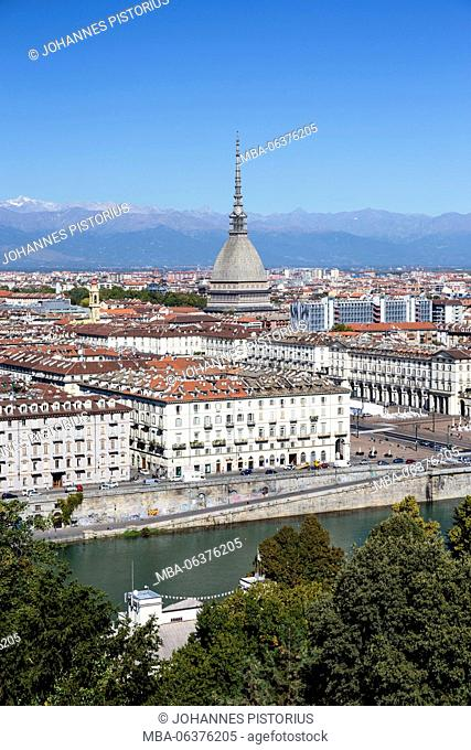 Europe, Italy, Piedmont, Turin, The Po river and the tower of the mole, behind it the alps