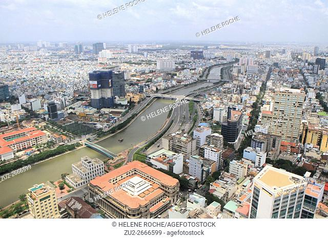 Aerial view of the city from Bitexco Financial tower, Saigon, Vietnam, Asia