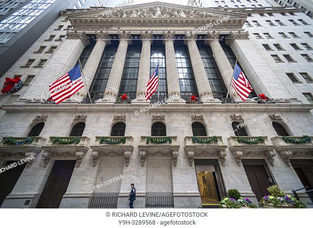 New York NY/USA-December 31, 2018 The New York Stock Exchange in Lower Manhattan on Monday, December 31, 2018, the last day of trading for 2018
