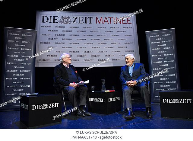 German actor Mario Adorf (R) sits with journalist Josef Joffe on stage during a matinee in the Hamburger Kammerspiele theatre in Hamburg, Germany, 13 March 2016