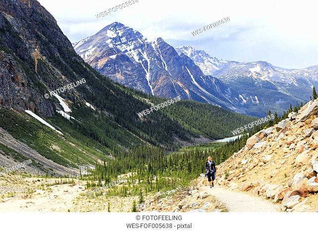 Canada, Alberta, Rocky Mountains, Canadian Rockies, Jasper National Park, Icefields Parkway, female hiker at Mount Edith Cavell and Angel glacier