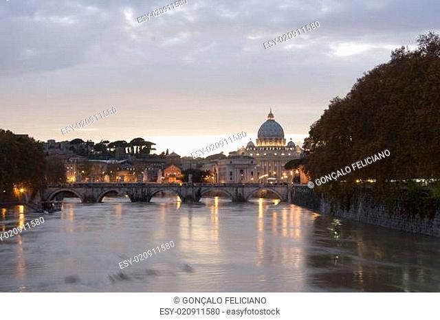 view of st peter's basilica and saint angel bridge