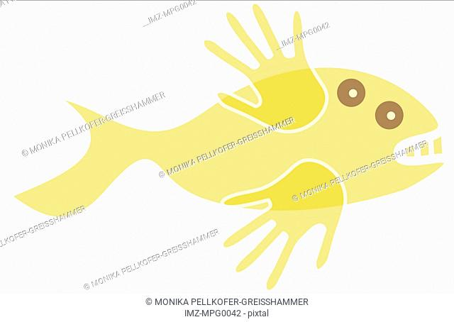 A yellow fish with hands for fins
