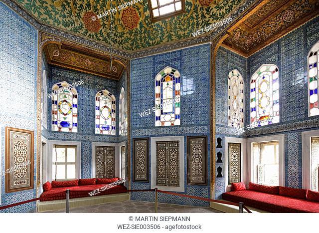 Turkey, Istanbul, Interior of Yerevan Kiosk at Topkapi Palace