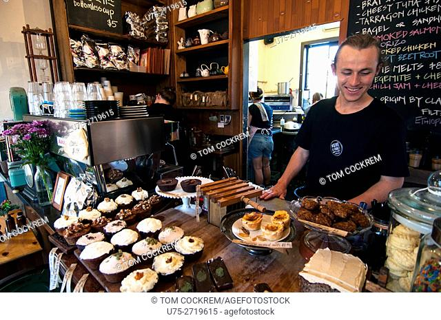 Trendy coffee shop counter and display, Fitzroy, Melbourne, Victoria, Australia