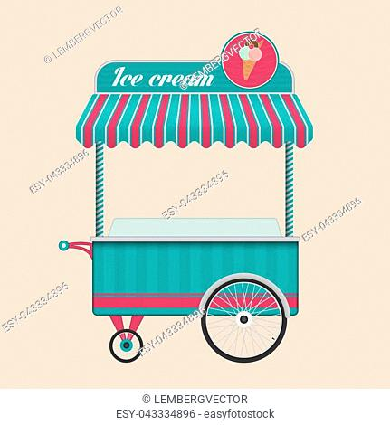 Vintage ice cream bicycle cart bus vector illustration