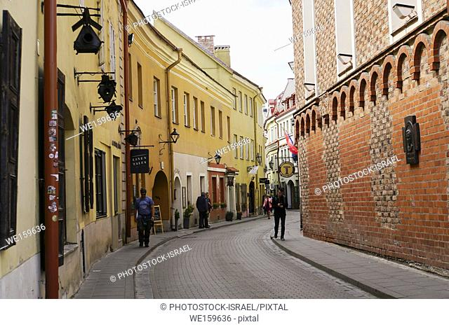 Lithuania, Vilnius old town street view