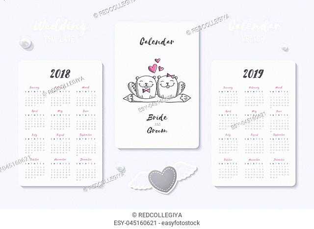 wedding vector calendar template with happy bride and groom hand drawn couple, 2018 and 2019 years