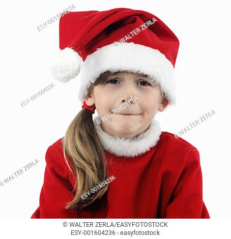 Little Santa Claus ungry on the white background