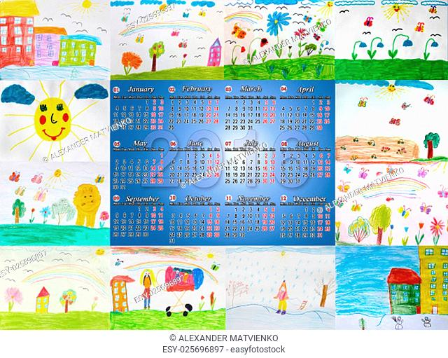beautiful calendar for 2016 with different children's drawings for every month