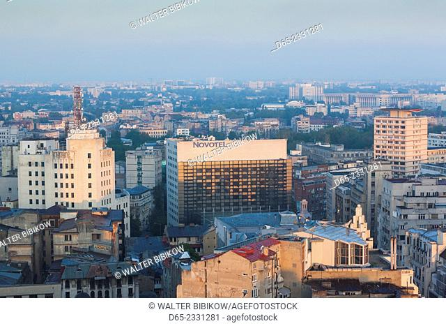 Romania, Bucharest, Central Bucharest, elevated view with Novotel Hotel, dawn
