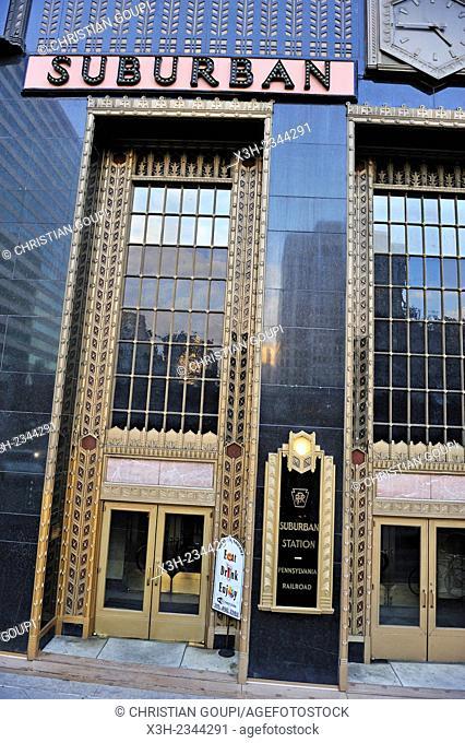 Art Deco Front entrance of Suburban Station, 16th Street & JFK Boulevard, Philadelphia, Commonwealth of Pennsylvania, Northeastern United States,