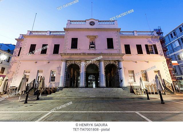 Gibraltar, Gibraltar City, Gibraltar Parliament on John Mackintosh Square at dusk