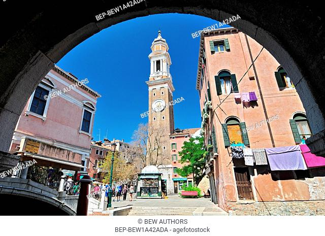 Santi Apostoli Bell Tower Clock. Venice Italy
