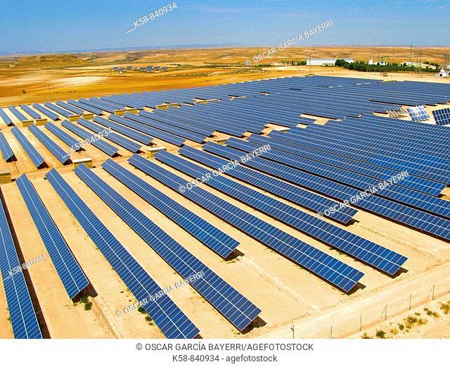 Aerial view with solar power plant. La Rioja. spain