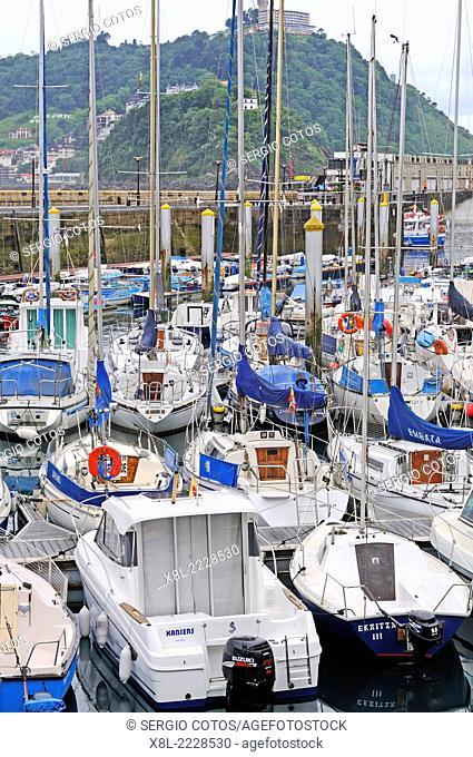 Boats in the dock in San Sebastian, Guipúzcoa, Basque Country, Spain