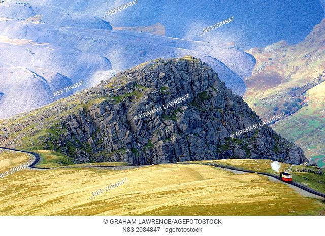 Steam train, Mount Snowdon, Snowdonia National Park, Gwynedd, Wales, United Kingdom