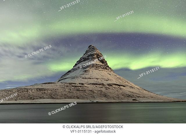 Northen Lights over Kirkjufell mountains, Vesturland, Western Iceland, Europe