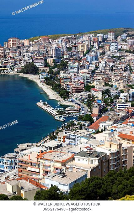 Albania, Albanian Riviera, Saranda, elevated city view