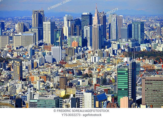 Aerial view of Metropolitan Tokyo from atop the Mori Tower at Rappongi Hills, Tokyo, Japan, Asia