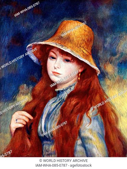 Painting titled 'Girl with a Straw Hat' by Pierre-Auguste Renoir (1841-1919) a French artist. Dated 19th Century