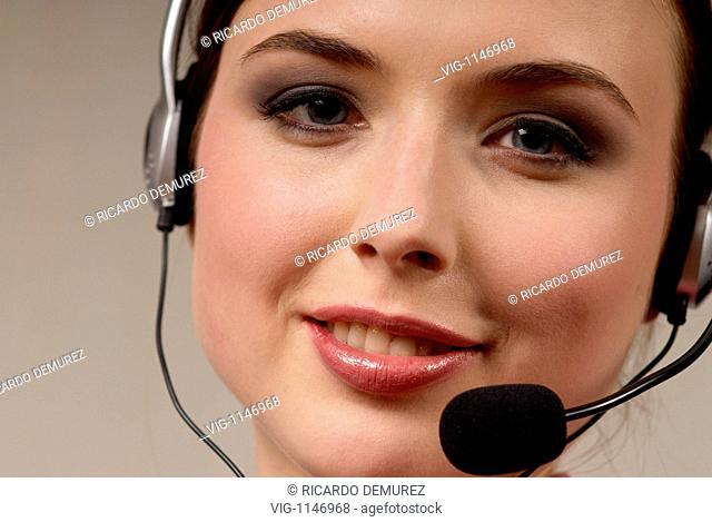 AUSTRIA , VIENNA , 02.11.2007, Young woman with headset - Vienna, Vienna, AUSTRIA, 02/11/2007