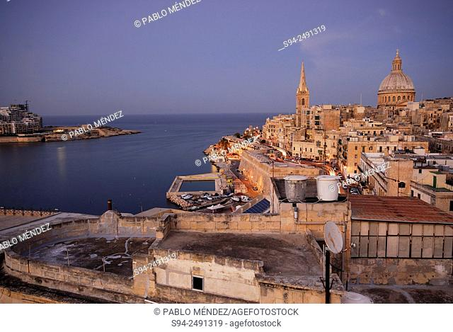 View of La Valetta from St. Andrew bastion in Malta island