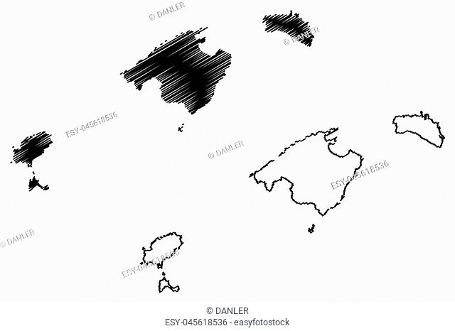 Balearic Islands (Kingdom of Spain, Autonomous community) map vector illustration, scribble sketch Mallorca, Menorca, Ibiza and Formentera map
