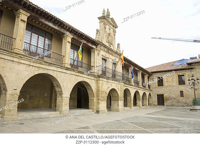 Street of Santo Domigo de la Calzada, La Rioja, Spain. The main square or plaza mayor