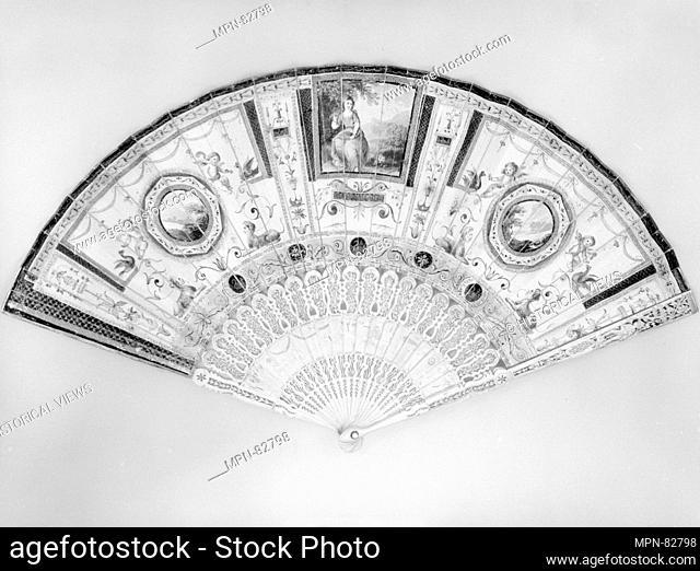 Fan. Date: late 18th century; Culture: British; Medium: Ivory, paper; Dimensions: L. 10 1/2 x W. 19 1/4 inches (26.7 x 48.9 cm