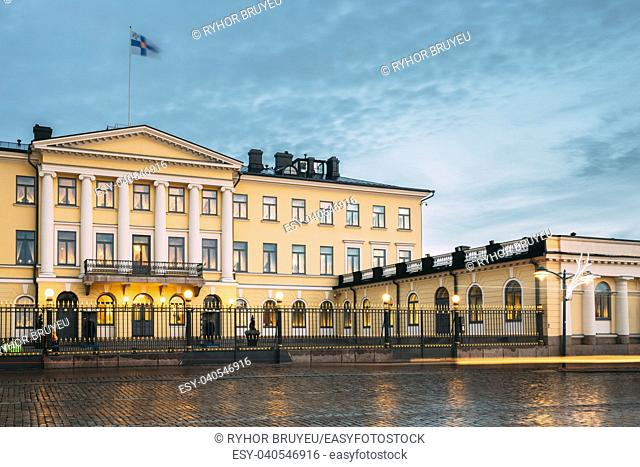 Helsinki, Finland. Presidential Palace In Evening Illuminations. It Contains Office Of President And Private Apartments For Official Functions And Receptions