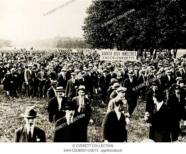 Paris sympathizers of Sacco and Vanzetti demonstrate. An immense demonstration was held in the Bois de Vincennes outside Paris by sympathizers of the two...