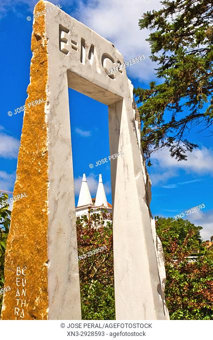E = mc2, the equation of mass energy equivalence, on background Sintra National Palace, Town Palace, Sintra, Portugal, Europe