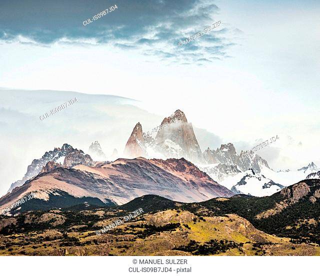 View of Fitz Roy mountain range in Los Glaciares National Park, Patagonia, Argentina