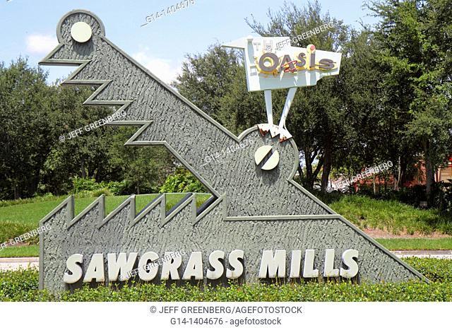 Florida, Fort Ft  Lauderdale, Sunrise, Sawgrass Mills Mall, entrance, sign, alligator
