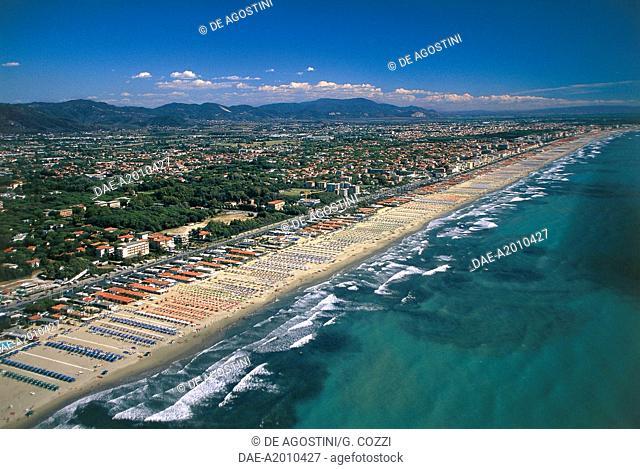 Aerial view of Versilia coast, Tuscany, Italy